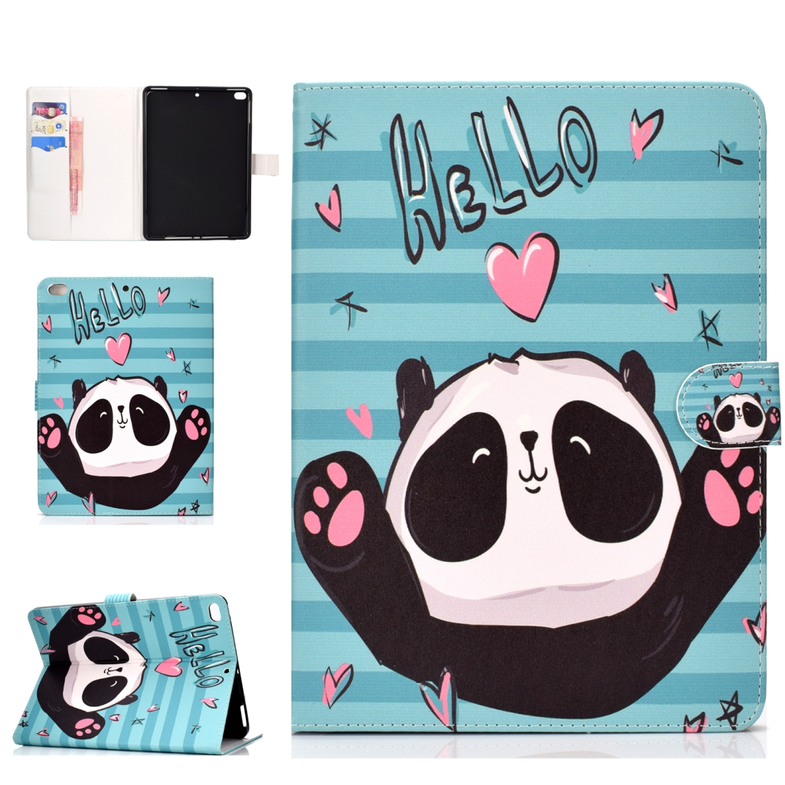 iPad 5th Generation Case Fits iPad 5,6,8, Stylish Leather Design & Auto Sleep Function (Panda)