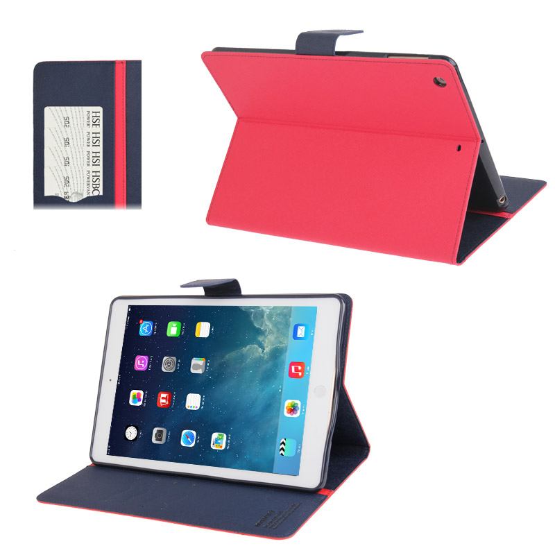 iPad Air Case Cross Texture Leather Case with Sleeve & Slim Profile (Red)