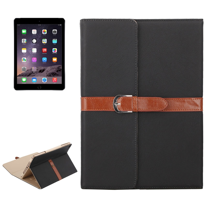 Business Style Leather iPad Air Case 1/2, iPad 5/6, With Tri-Fold Holder & Buckle (Black)
