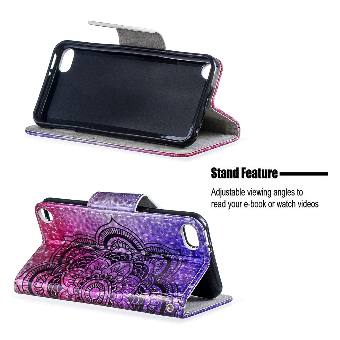 Dazzle Colorful Leather Case w/ Slim Profile & Lanyard For iPod Touch 5/6 (Half Datura)