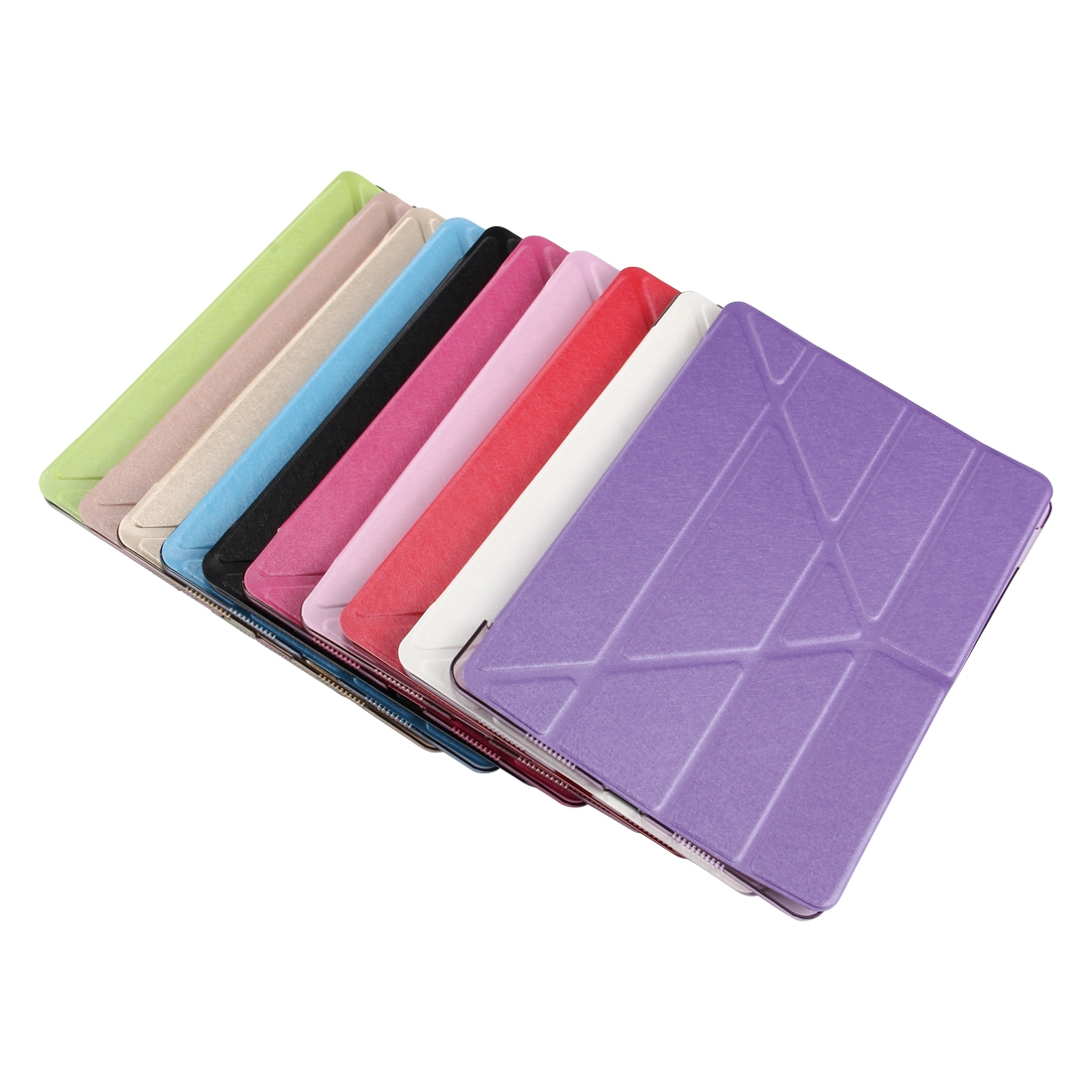 Silk Textured Leather iPad Air 3 Case (10.5 Inch) with Quad-Fold Holder w/ Auto Sleep (Pink)