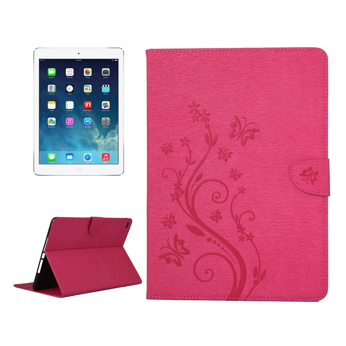 iPad Air 2 Case Floral Butterfly Leather Case w/ Magnetic Buckle, Sleeves (Magenta)