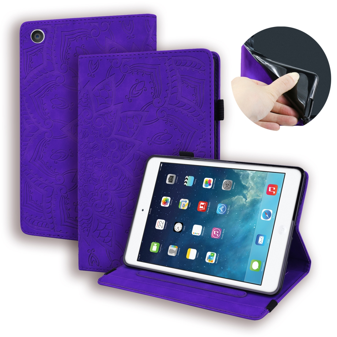 iPad 2 Case Fits iPad 2, 3, Calf Skin Patterned Leather With Sleeves, Pen Holder & Band (Purple)