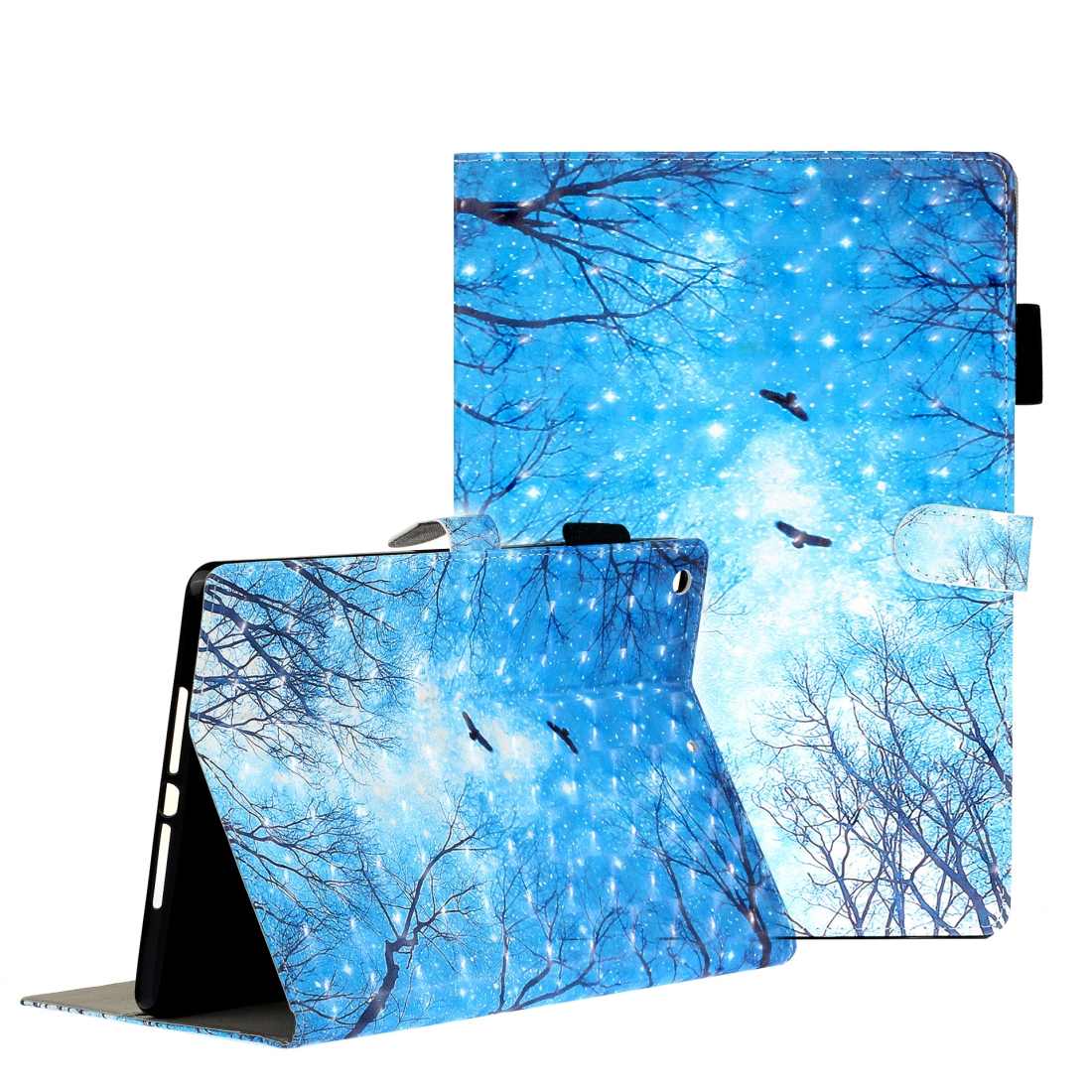 iPad 7th Generation Case (10.2 Inch) 3D Embossing Leather Case & Slim Profile (Blue Forest)