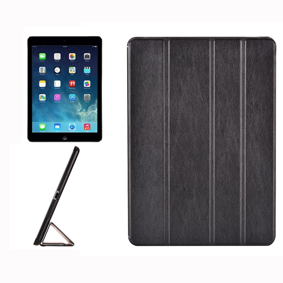 Genuine Leather iPad Air Case, iPad 5, Hide Textured Design Style with Quad-Fold Holder (Black)
