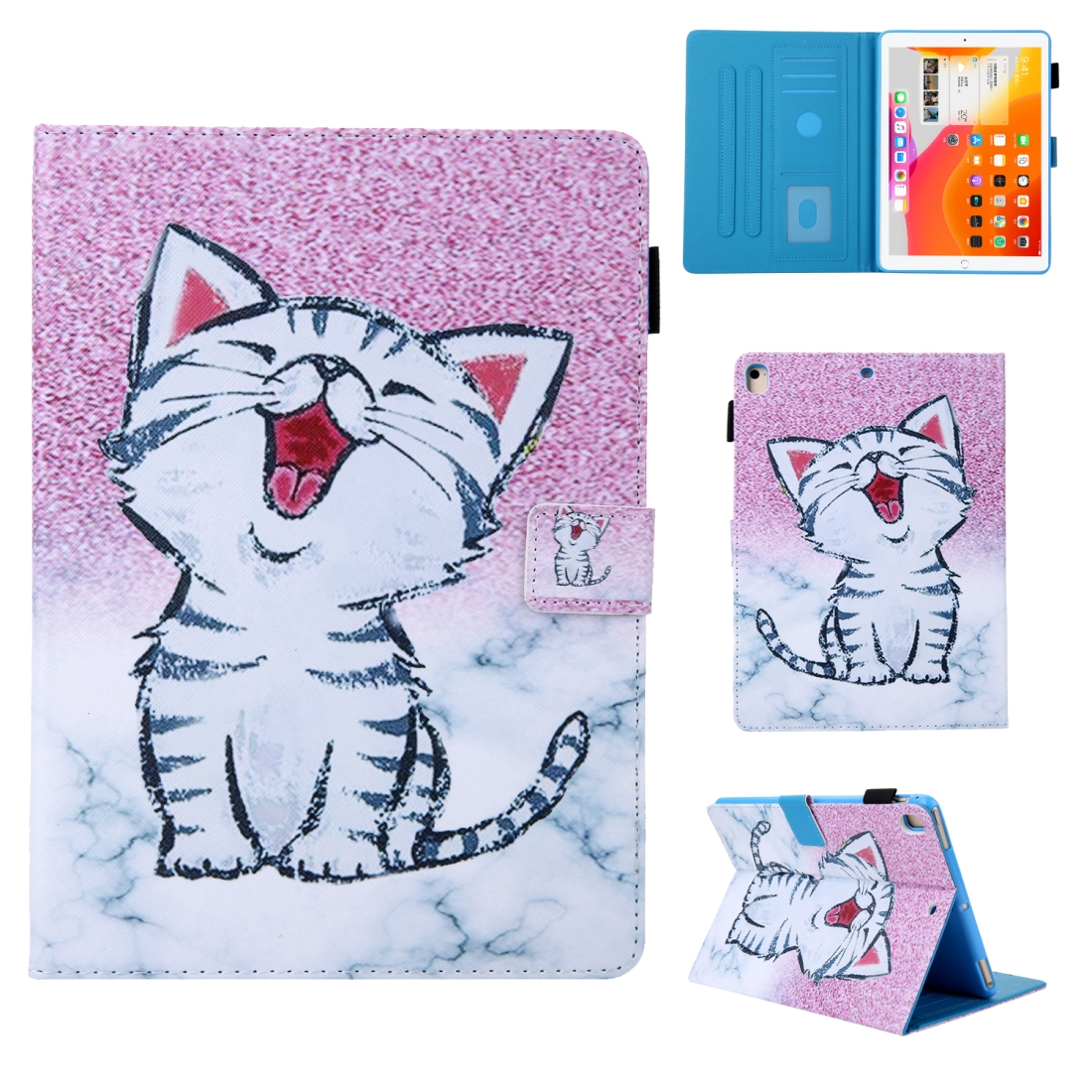 iPad 10.5 Case Colorful Design Leather Case with Sleeve (Red-Billed Cat)