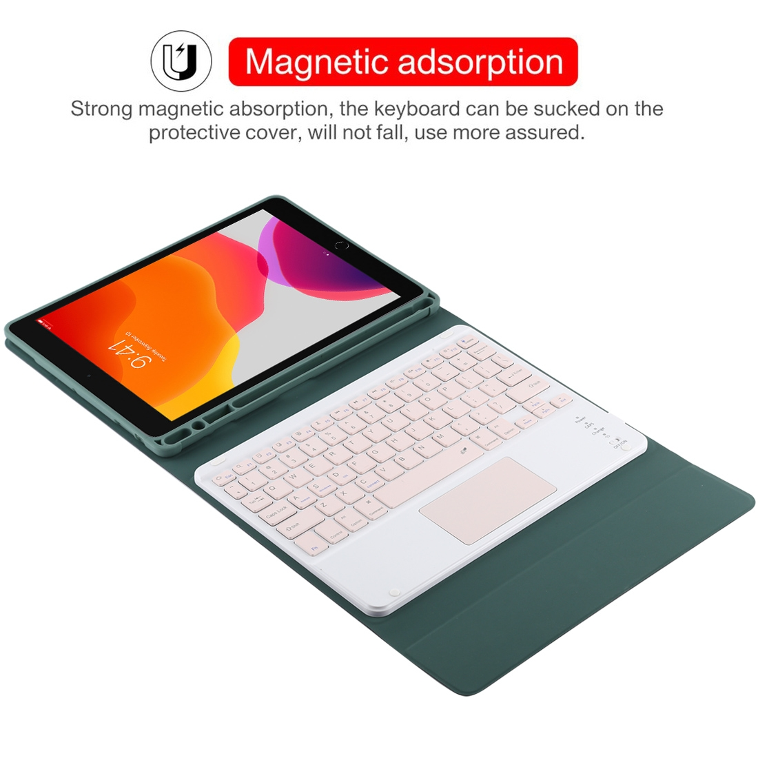 iPad Air Case With Keyboard For iPad 10.2/Air (2019) Leather Case, Touchpad & Bluetooth (Dark Green)