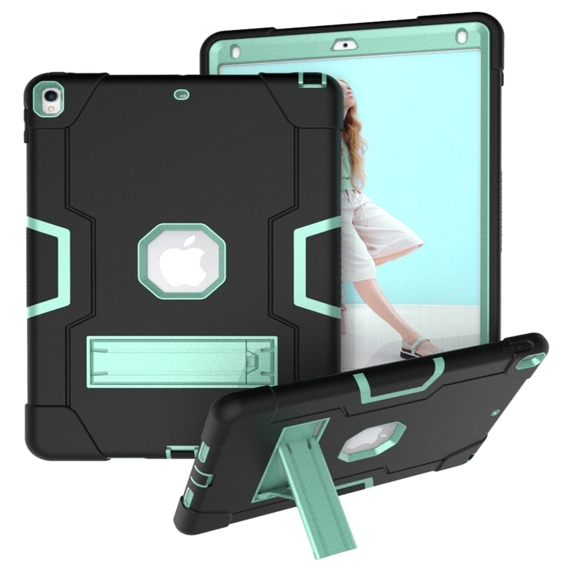 iPad 10.5 Case Contrasting Color Tough Durable Armor Case (Black/Aqua)