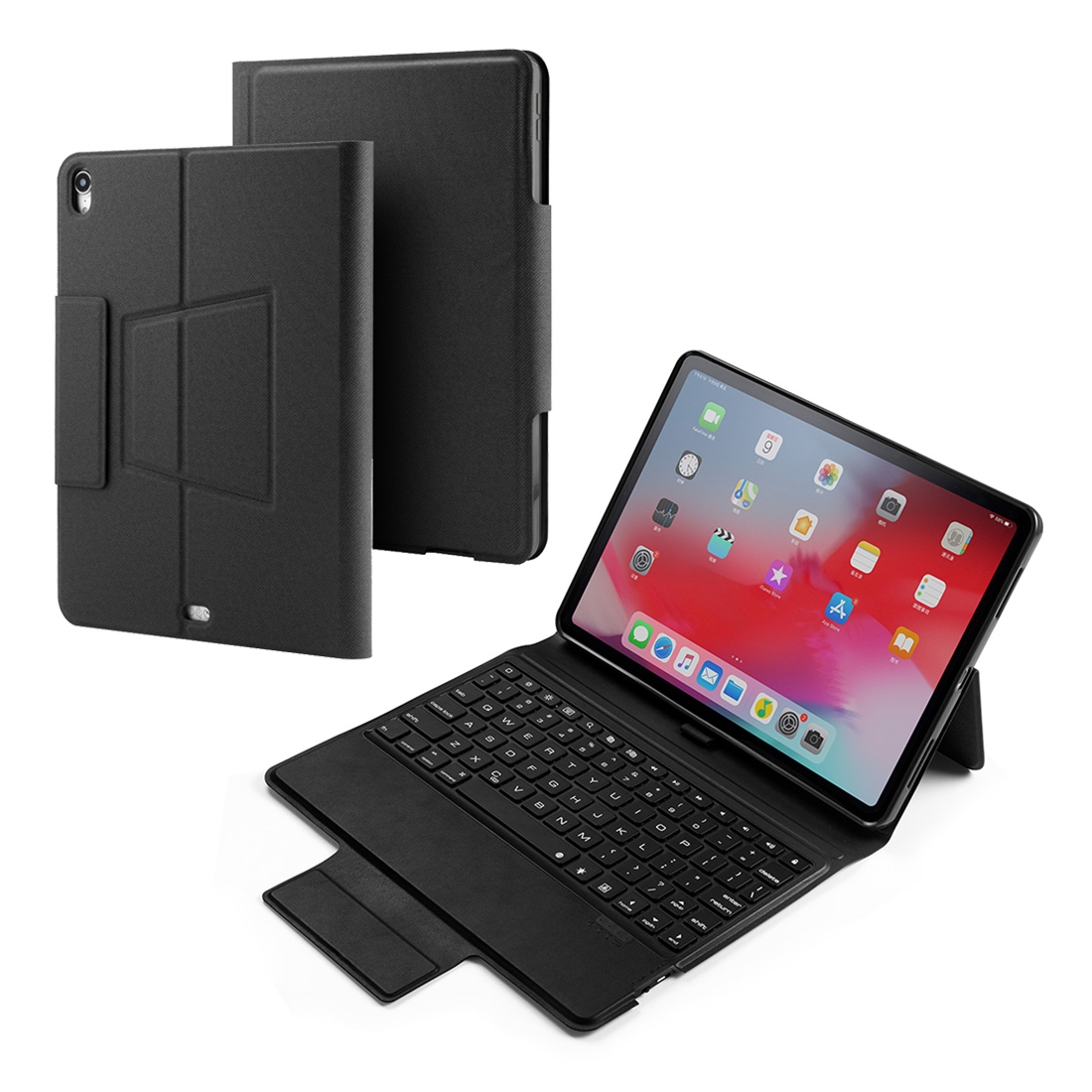 Colored Backlight Bluetooth Keyboard with Leather Flip Case for iPad Pro 11 (2018) (Black)