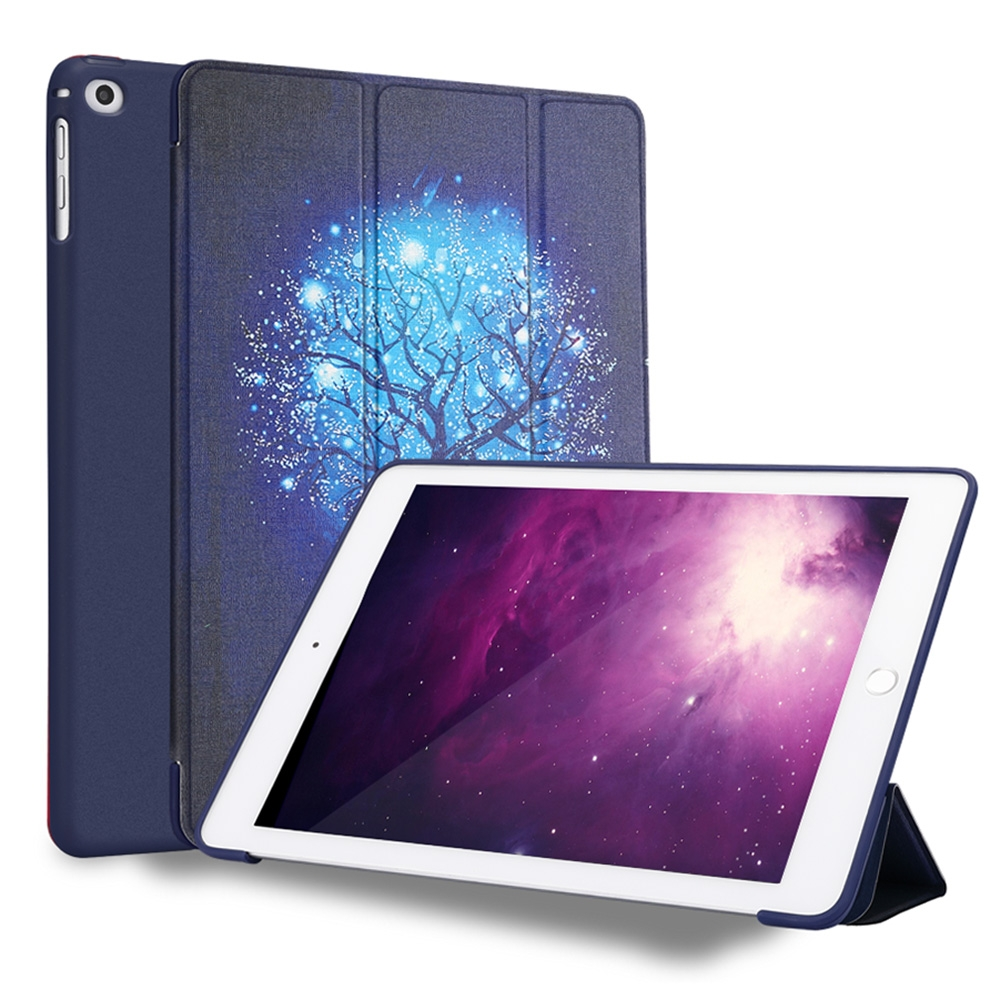 Blue Tree Leather iPad 9.7 Case (2018) (2017), Air/ Air 2, Tri-Fold, Honeycomb Cover