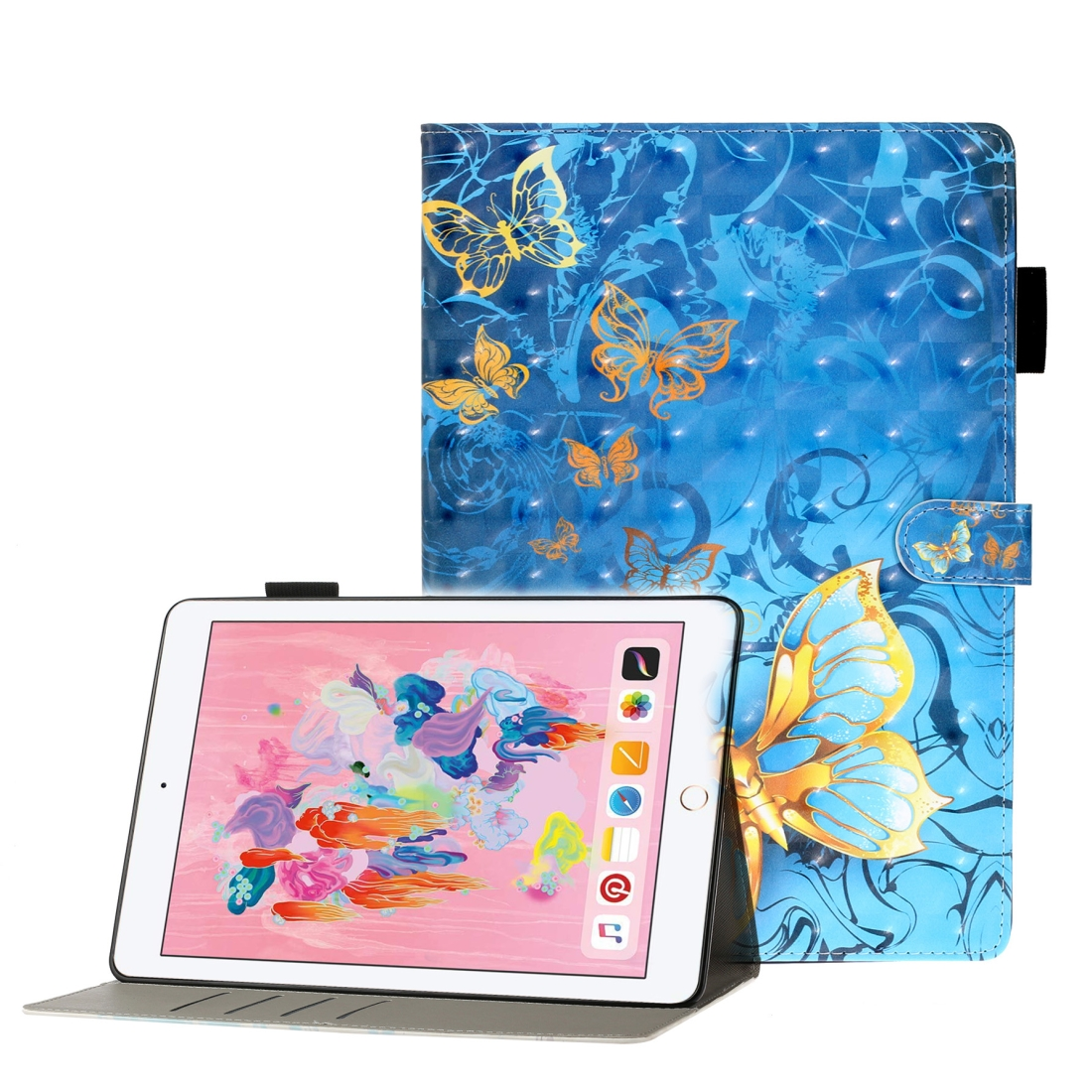 Case For iPad 5/ 6/ 7/ 8/ 9 3D Embossing Leather Case & Slim Profile (Blue Butterfly)