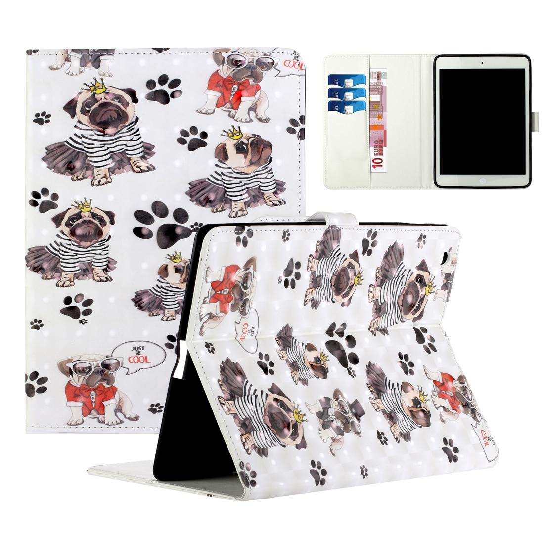 iPad 2 Case Fits iPad 2,3,4, With A Artsy Leather Design with Sleeve & Auto Sleep (Crown Dog)