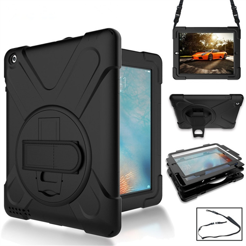 iPad 6 Case/iPad Air 2 Case With Rotating Silicone Protective Casing, Strap and Longer Strap (Black)