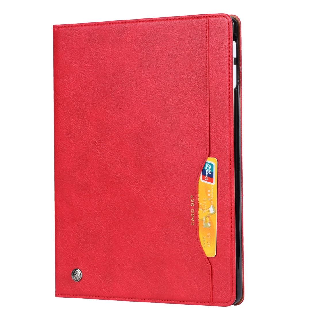 Textured Leather iPad Pro 12.9 Case 2018, w/Frame, Holder, Slim Profile & Pen Holder (Red)
