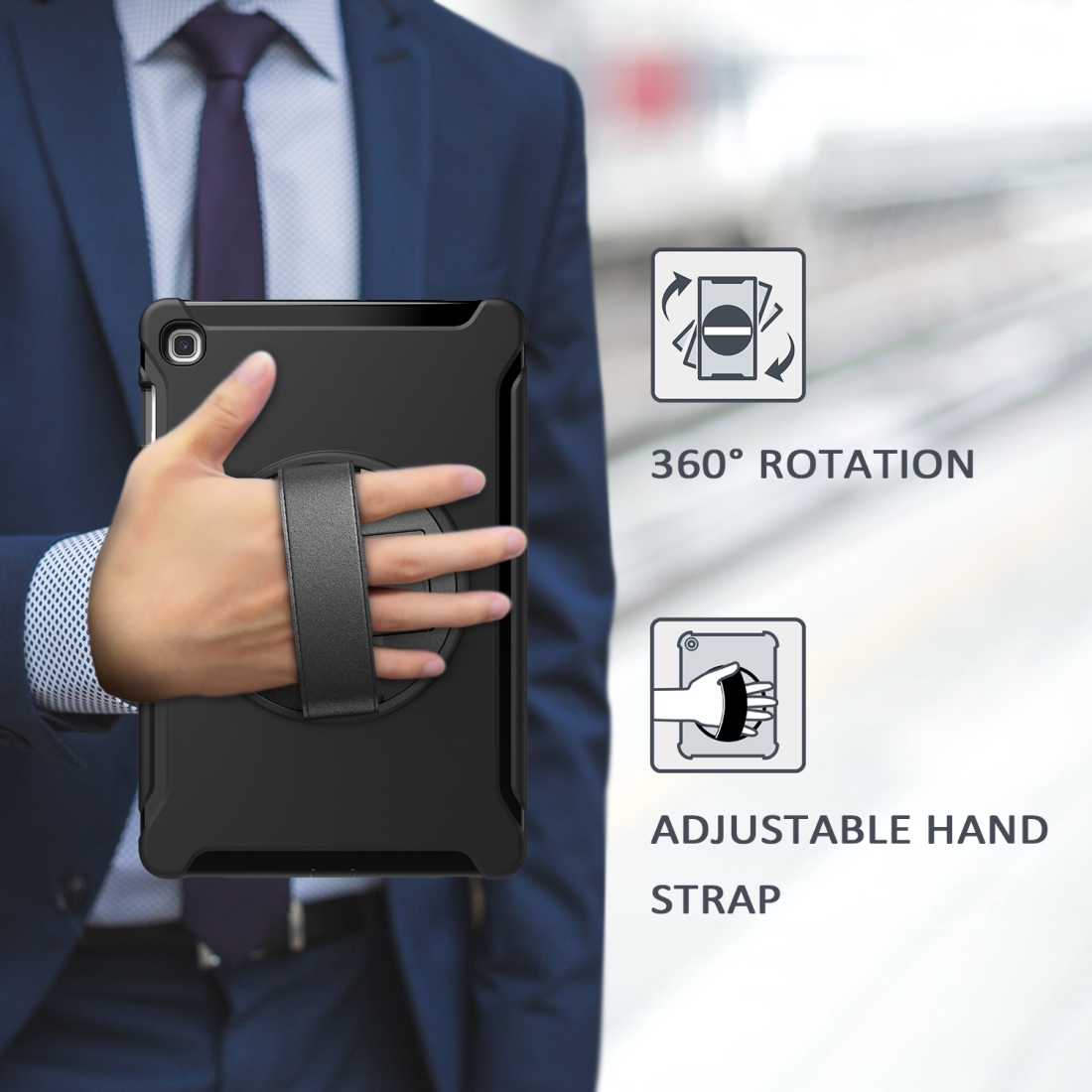 iPad 10.5 Case/ iPad Air 10.5 Case, Features A Rotating Protective Case With Hand-strap (Black)