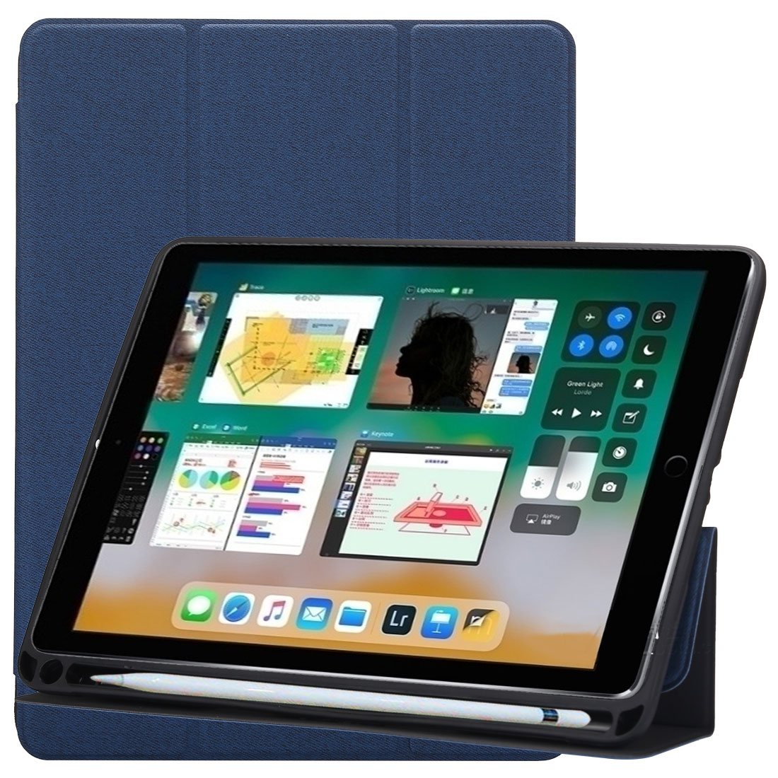Cloth Texture Leather iPad Air 3 Case (10.5 Inch) ,with Pen Holders (Blue)