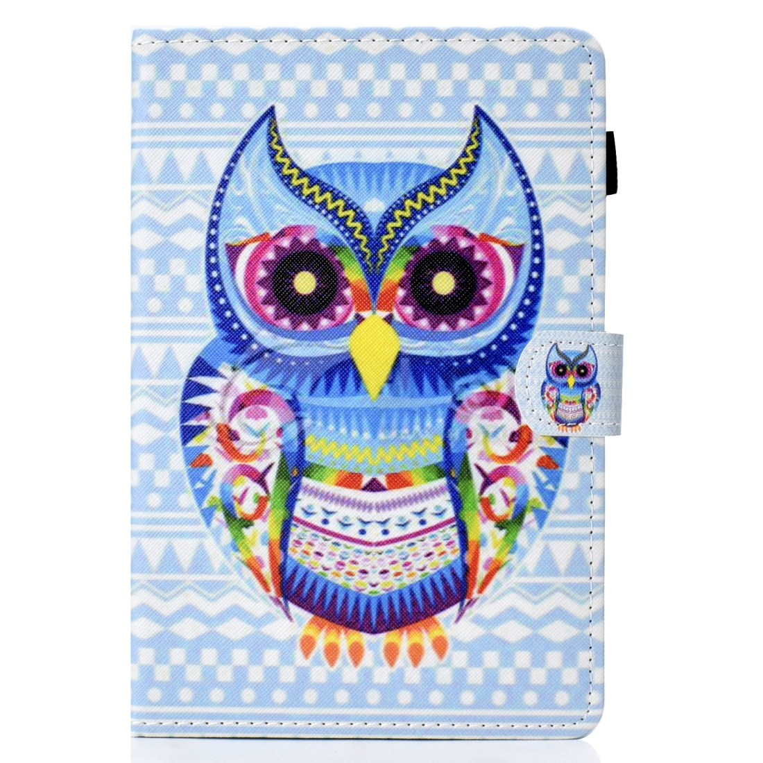 Leather iPad Mini Case 1/ 2/ 3/ 4 Artistic Stitching, with Sleeves (Artistic Owl)