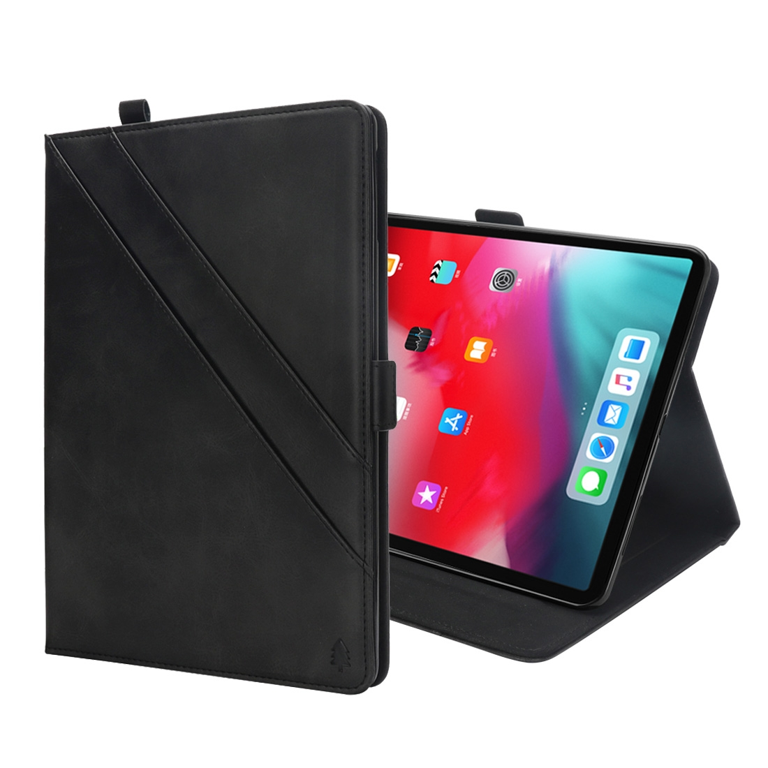 Bi-Stand Leather iPad Pro 11 Case (2018), w/Sleeves & Frame (Black)