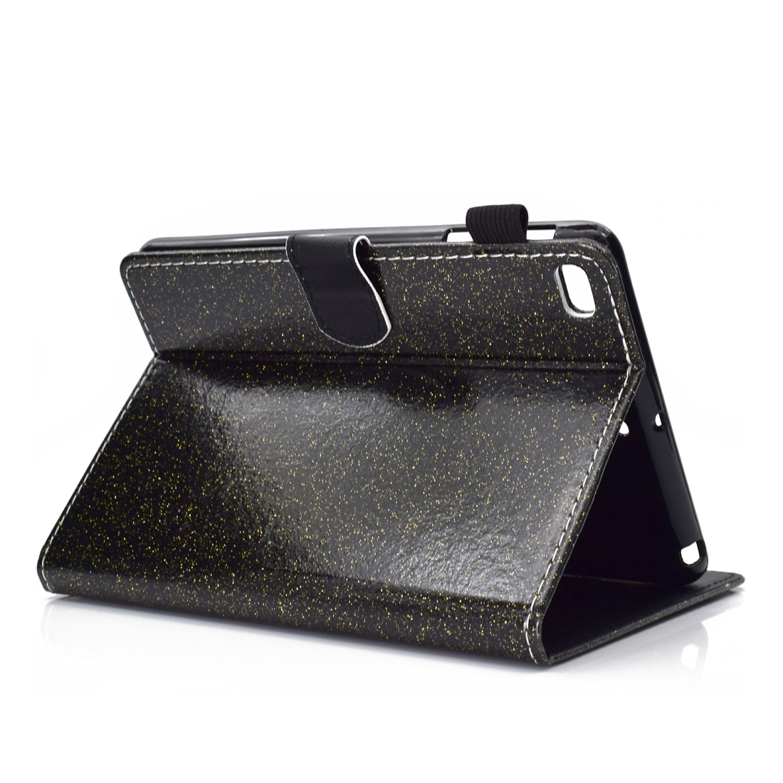Bling Glitter Leather iPad Mini 5 Case, Also Fits iPad Mini 1,2,3,4, With Sleeve (Black)