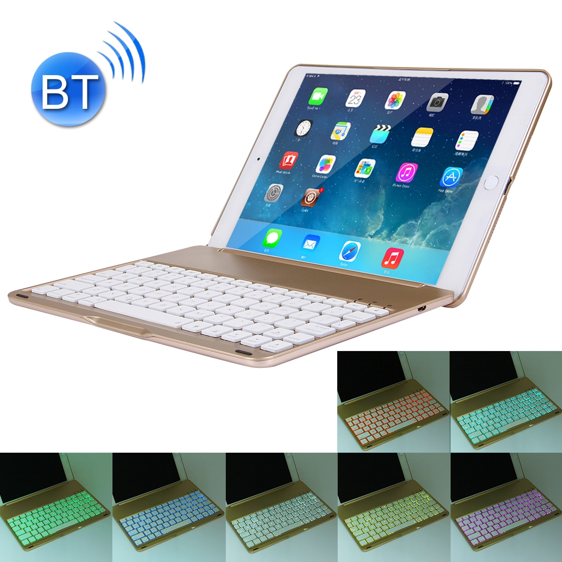 iPad Air 2 Case With Keyboard For iPad Air 2, Protective Case With Backlit Bluetooth Keyboard (Gold)