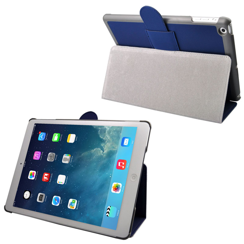 Cloth Texture Leather Case with Sleep/ Wake up Function For iPad Air (Blue)