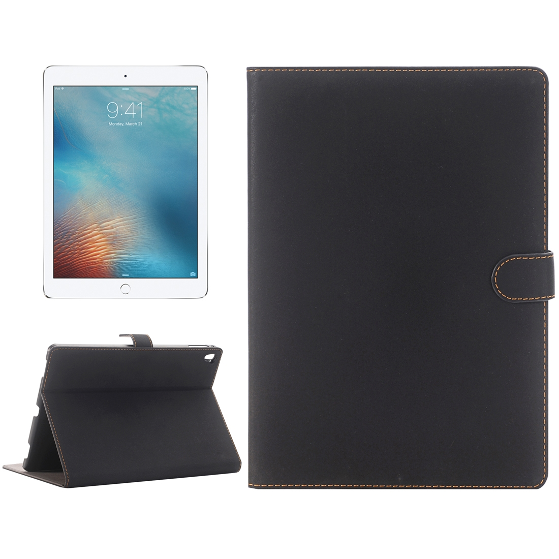 Vintage Style Leather iPad Air 2 Case (9.7 Inch) (Black)