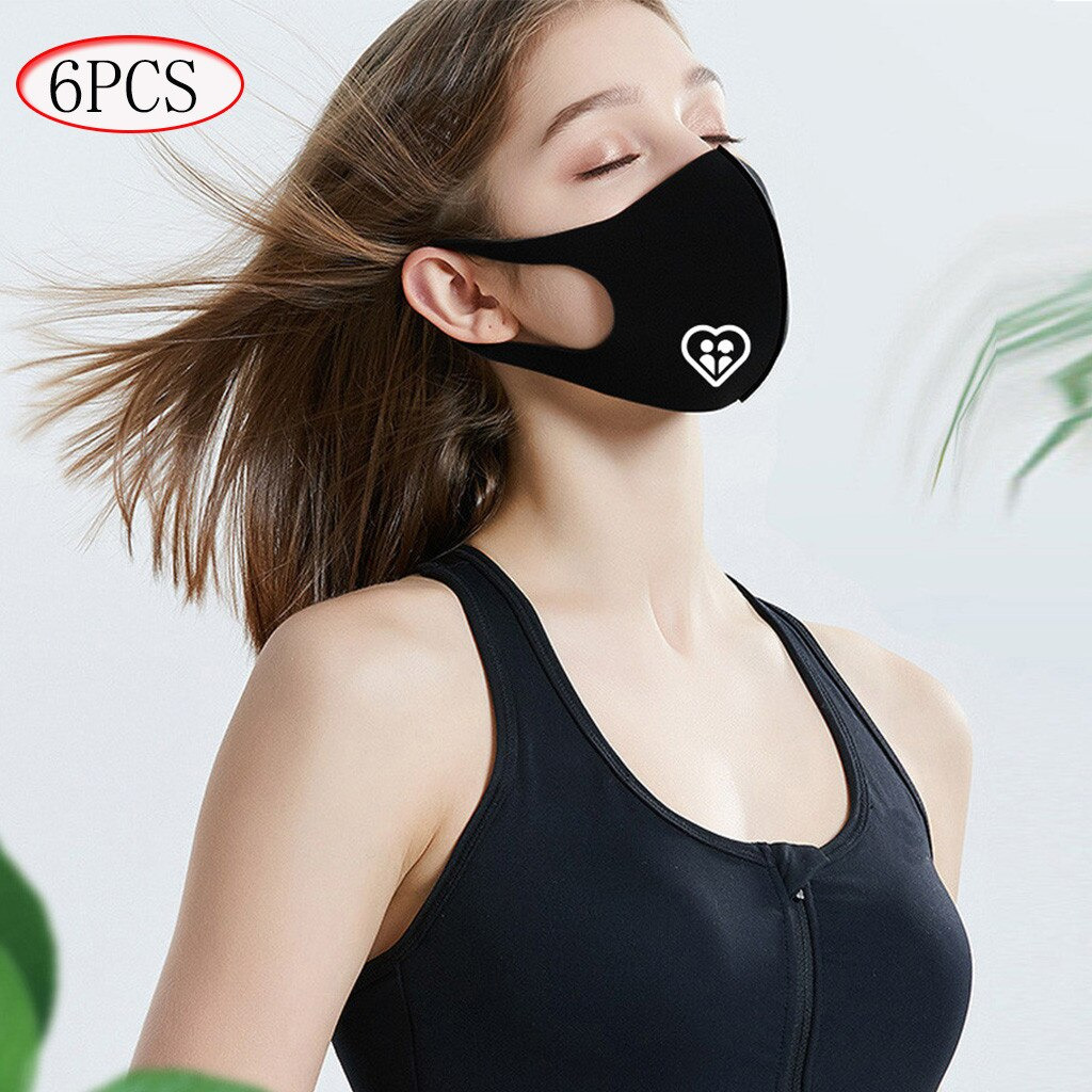 Cloth Face Mask Coverings, Washable, Nice Breathability – 6 Pack  - Black