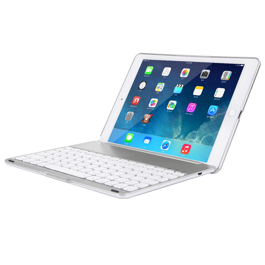 iPad Air 2 Case With Keyboard For iPad Air 2, Protective Case With Backlit Bluetooth (Silver)