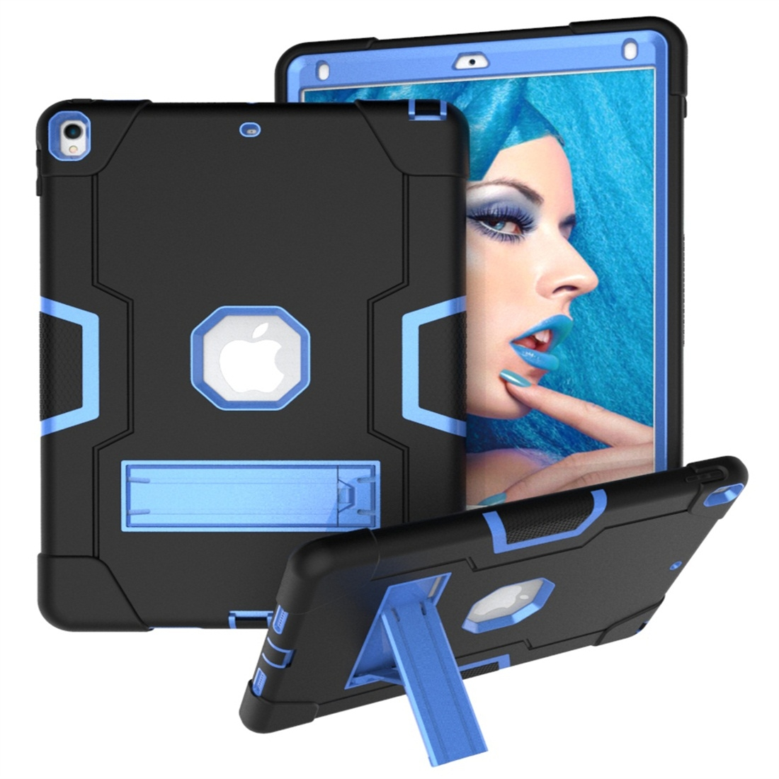 iPad 10.5 Case Contrasting Color Tough Durable Armor Case (Black/Blue)