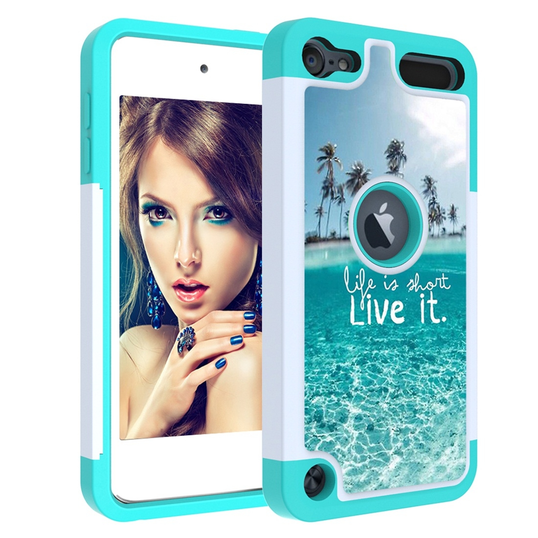 Colorful  Design PC/Protective Durable Casing for iPod touch 5/ 6/ 7 (2019) (Ocean)