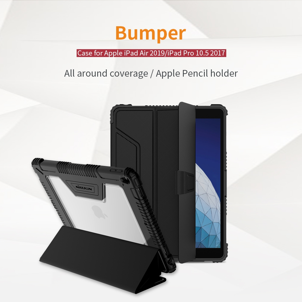 Bumper Leather iPad Air 2 Case (2019)/ iPad Pro 10.5 2017 ,with Pen Holder (Black)