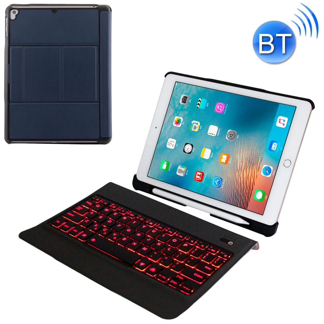 iPad Air 2 Case With Keyboard With Leather Case For iPad Air/Air 2/Pro 9.7 inch  (Blue)