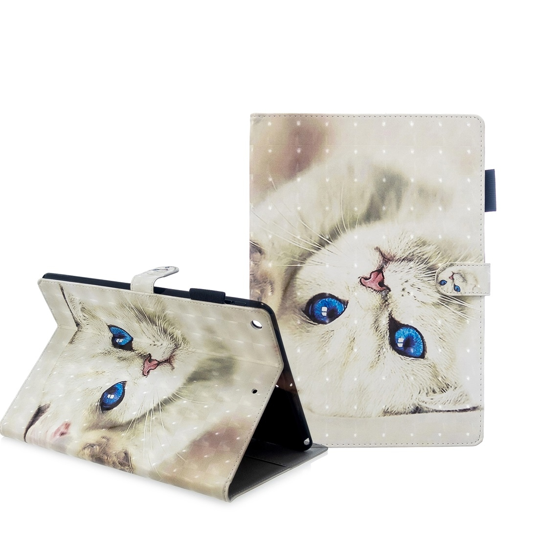 iPad 7th Generation Case (10.2 Inch) 3D Embossing Leather Case & Slim Profile (White Cat)