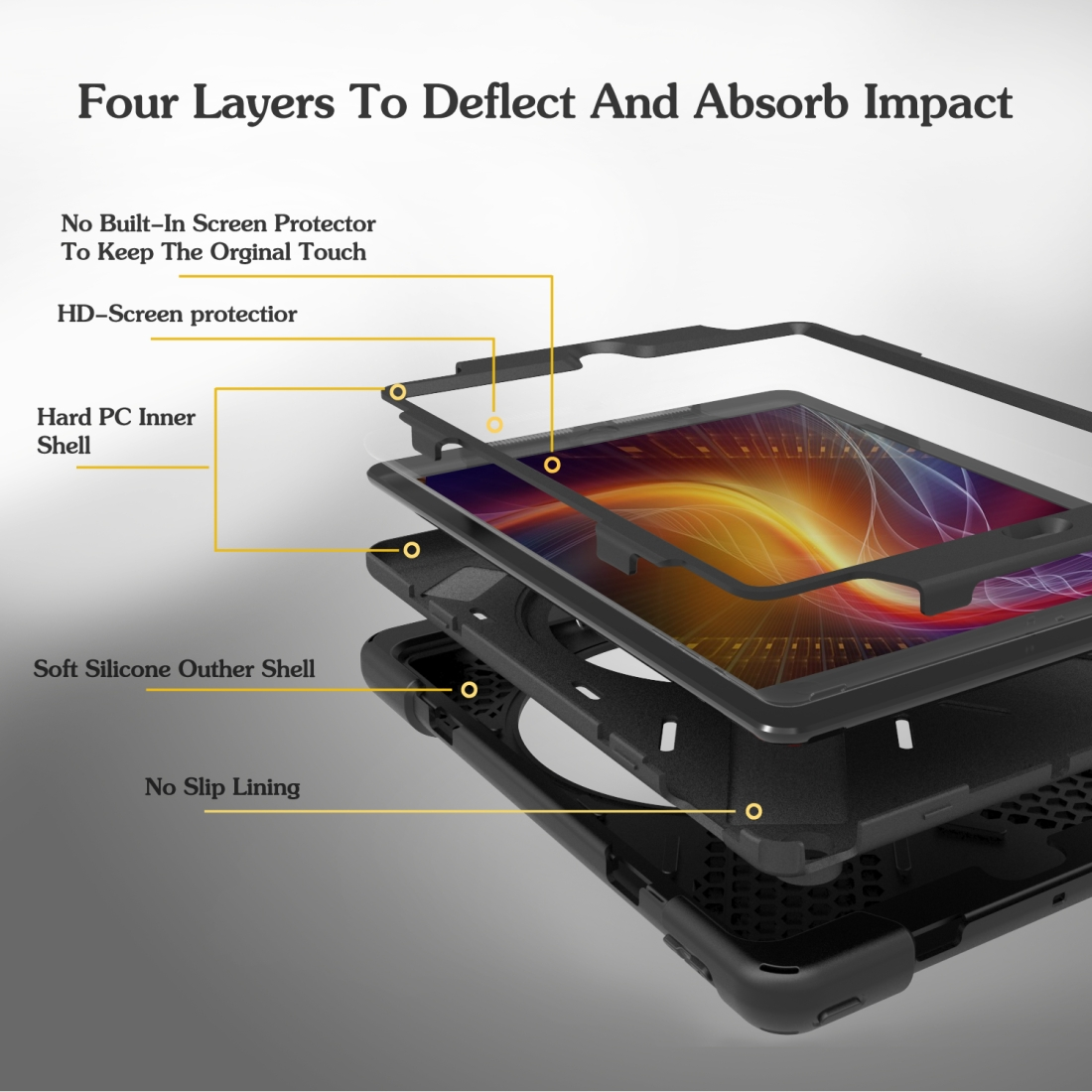 iPad 7th Generation Case (10.2 Inch) With A Protective Rotatable Design And Hand Strap (Black)
