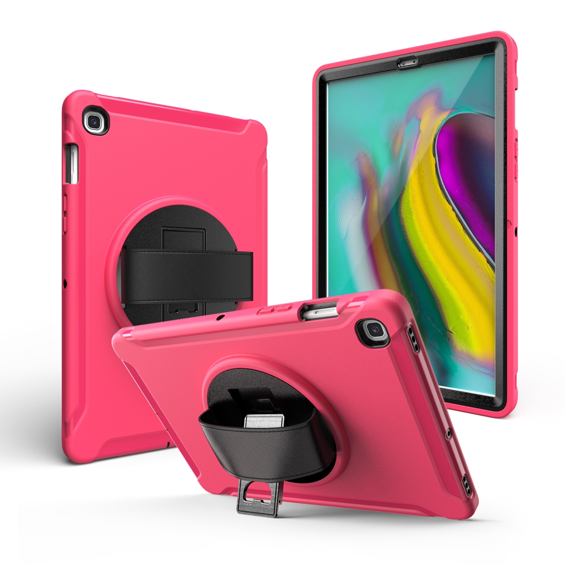 iPad 10.5 Case/ iPad Air 10.5 Case, Features A Rotating Protective Case With Hand-strap (Rose Red)
