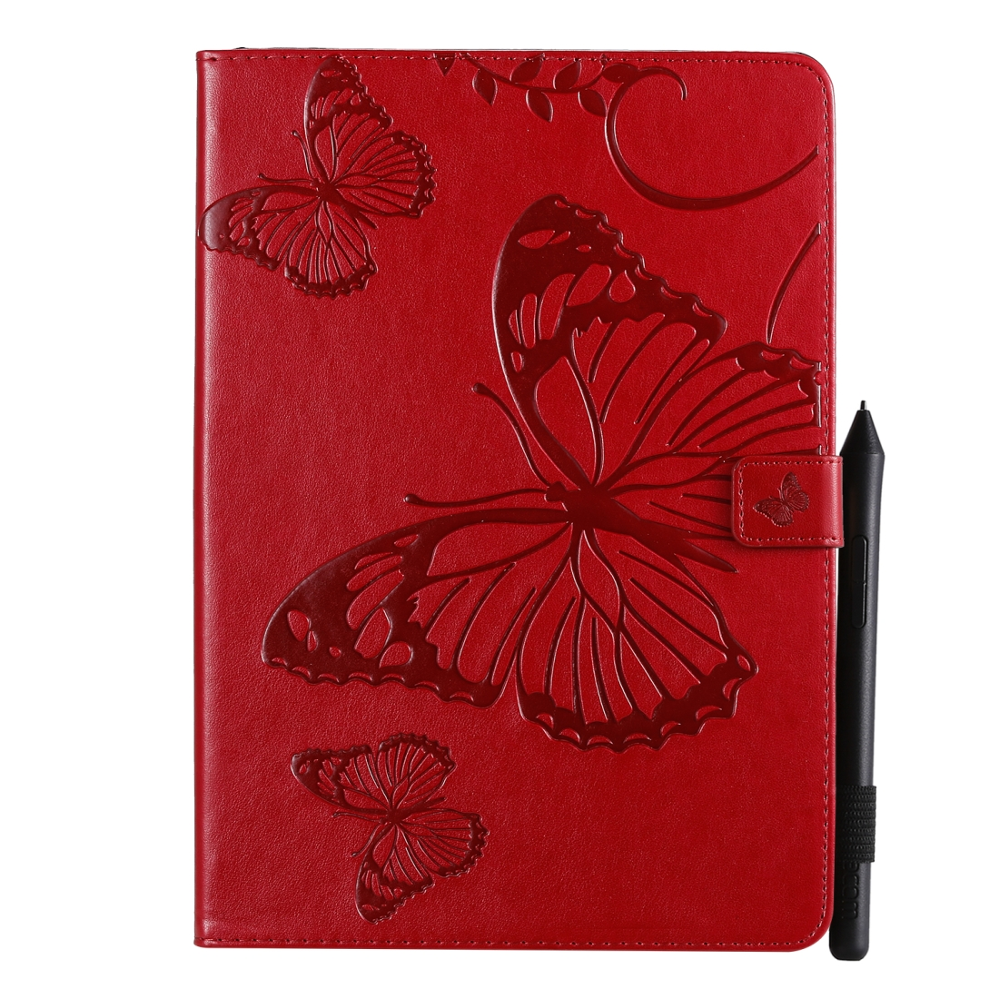 iPad 7th Generation Case (10.2 Inch) Also Fits /Pro 10.5/Air 2019 Leather Butterfly Design (Red)