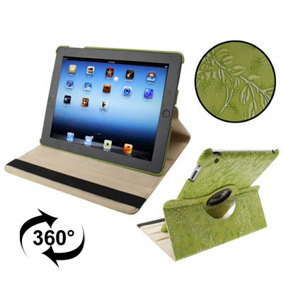 iPad 2 Case Fits iPad 2,3,4 & New iPad 3 With Leather Floral Design, Rotatable & Auto Sleep (Green)