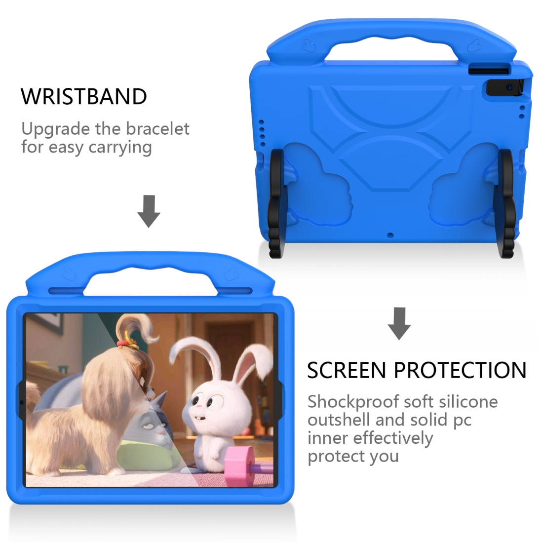 iPad 7th Generation Case (10.2 Inch)  Durable Protective Case & Bracket (Blue)
