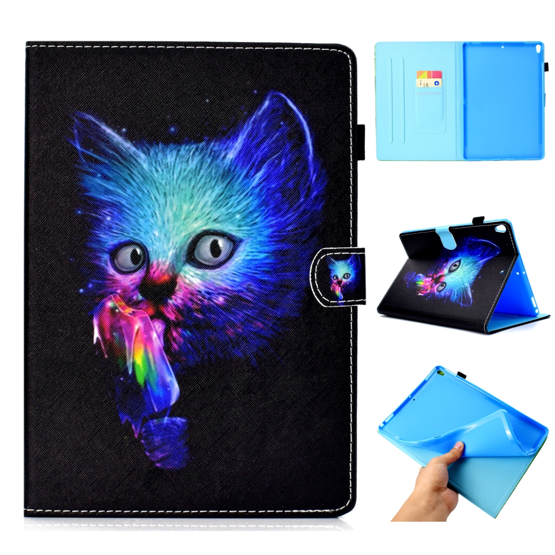 Artsy Leather iPad Air 3 Case (10.5 Inch) 2017/2019 Artsy Design & Auto Sleep Function (Super Cat)