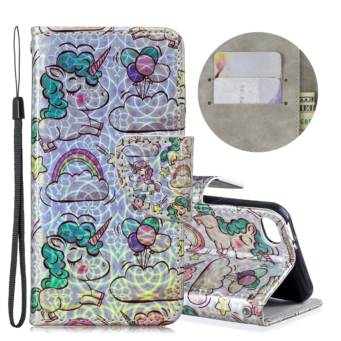 Dazzle Colorful Leather Case w/ Slim Profile & Lanyard For iPod Touch 5/6 (Rainbow Unicorn)