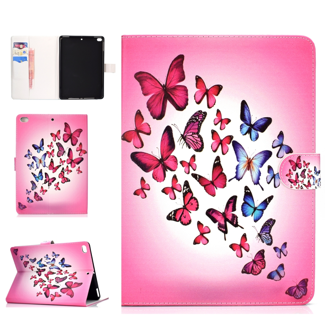 iPad 5th Generation Case Fits iPad 5,6,8, Stylish Leather Design & Auto Sleep Function (Butterfly)