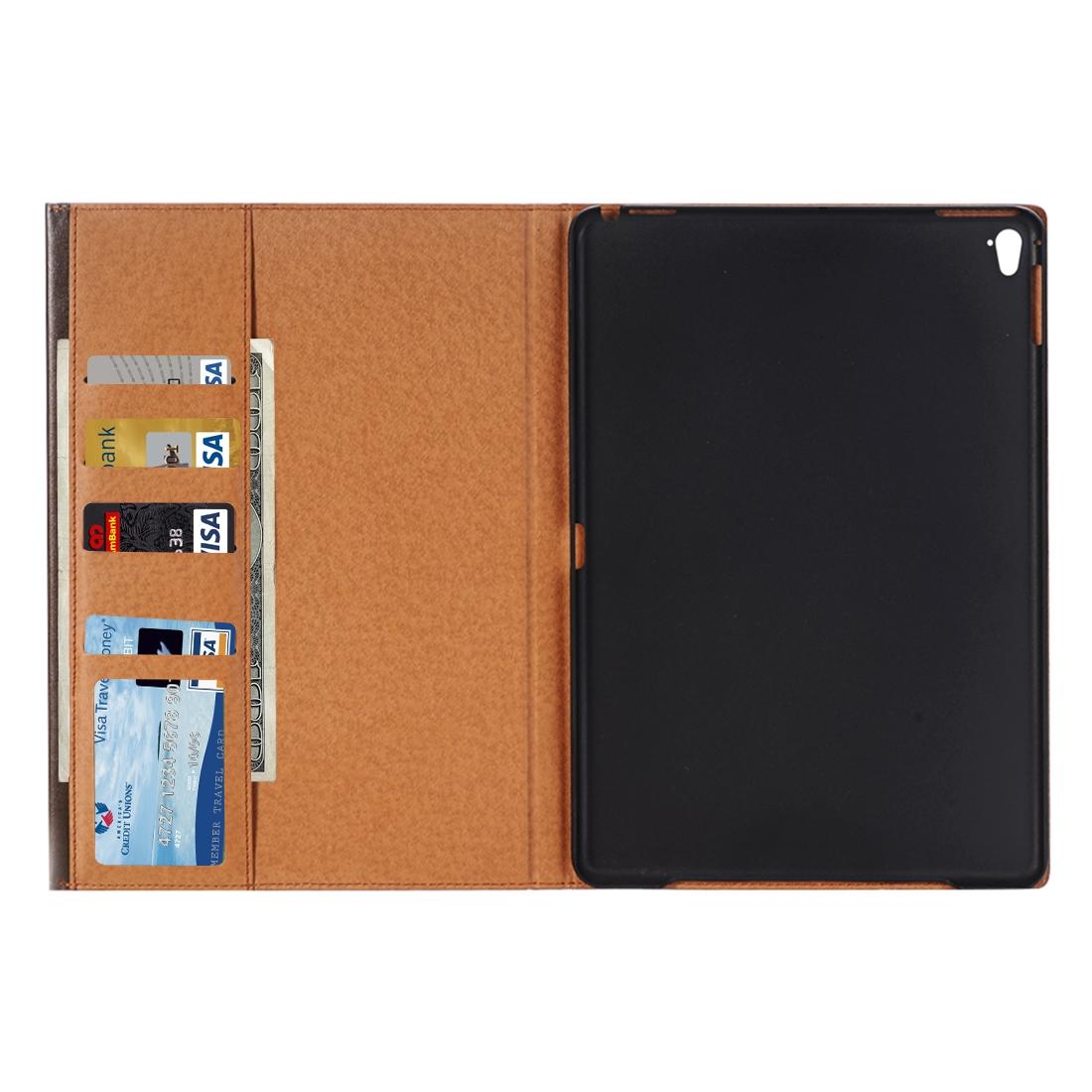 Book Style Leather iPad Air 2 Case (9.7 Inch), Slim Profile (Brown)