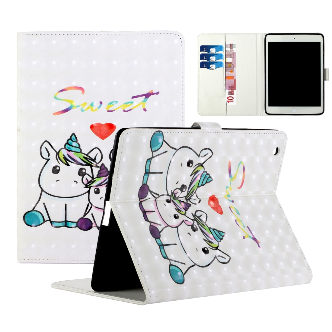 iPad 2 Case Fits iPad 2,3,4, With A Artsy Leather Design with Sleeve & Auto Sleep (Unicorns)