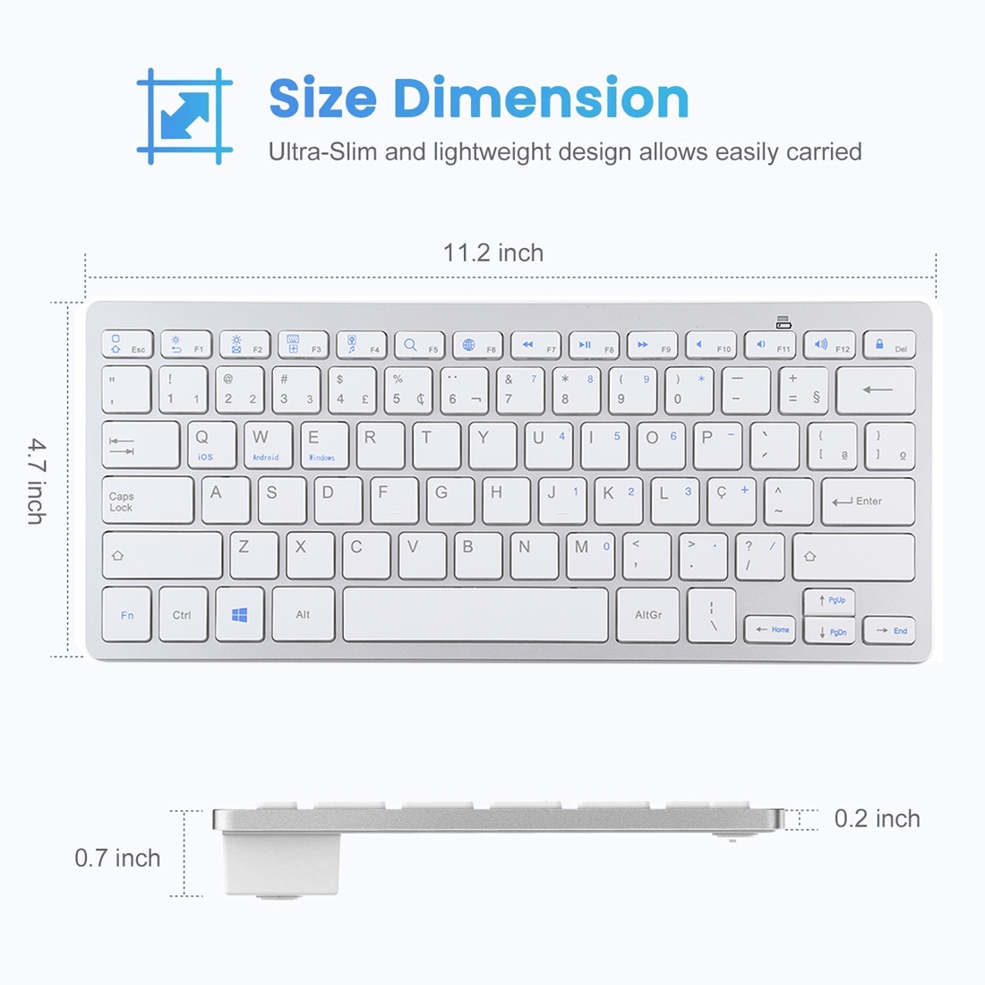 Wireless Keyboard For iPad, Samsung, Tablets, Smart Phones & Computers: Portuguese Keys (Silver)