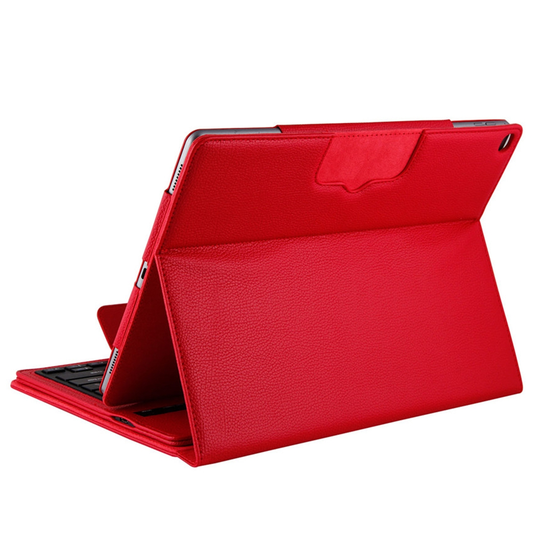 iPad Pro 12.9 Case With Keyboard (2015-17) With Leather Case & Detachable Keyboard (Red)
