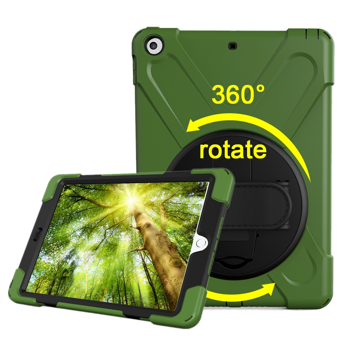 iPad 9.7 Case (2017) (2018), Rotating Protective Case with Hand-strap (Army Green)