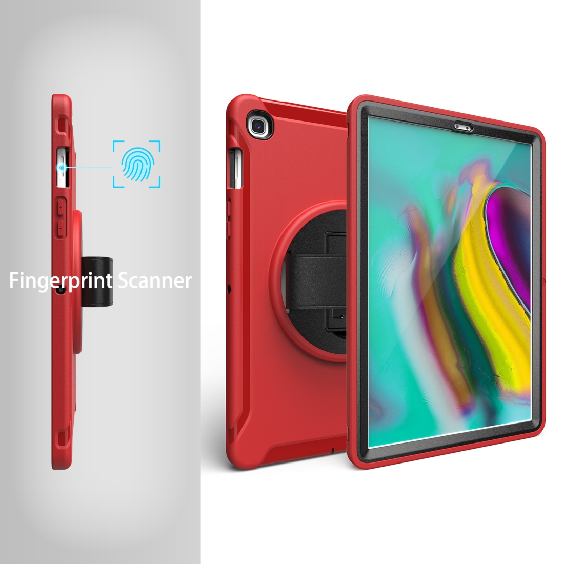 iPad 10.5 Case/ iPad Air 10.5 Case, Features A Rotating Protective Case with Hand-strap (Red)