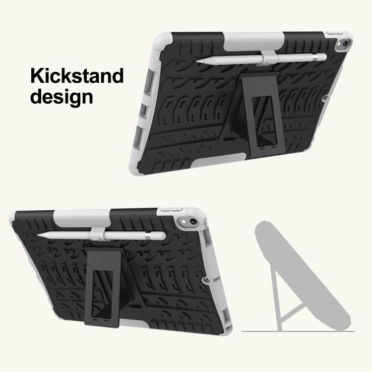 iPad Air 2 Case (10.5 Inch) Trendy & Durable Treaded Case With Pen Holder (White)