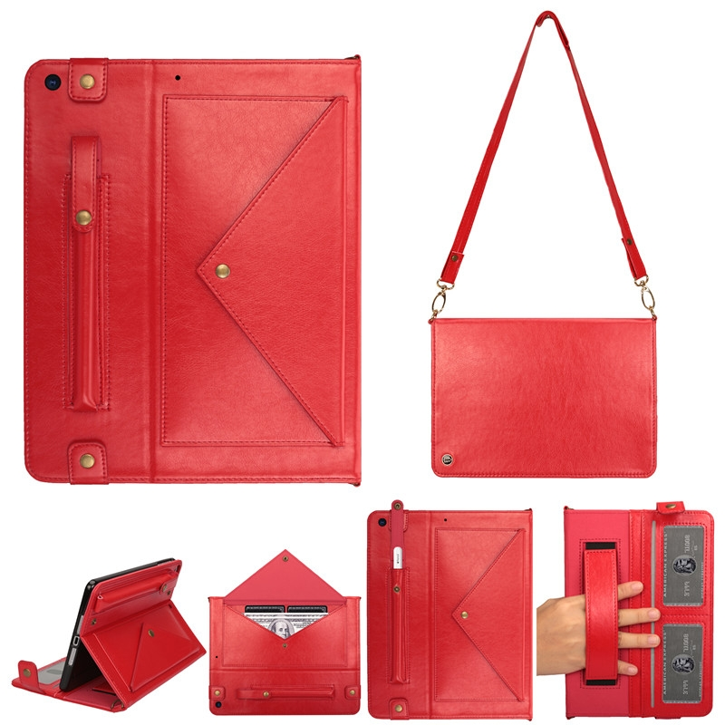 iPad 7th Generation Case (10.2 Inch)  Leather Case, Pen Holder & Slim Profile (Red)