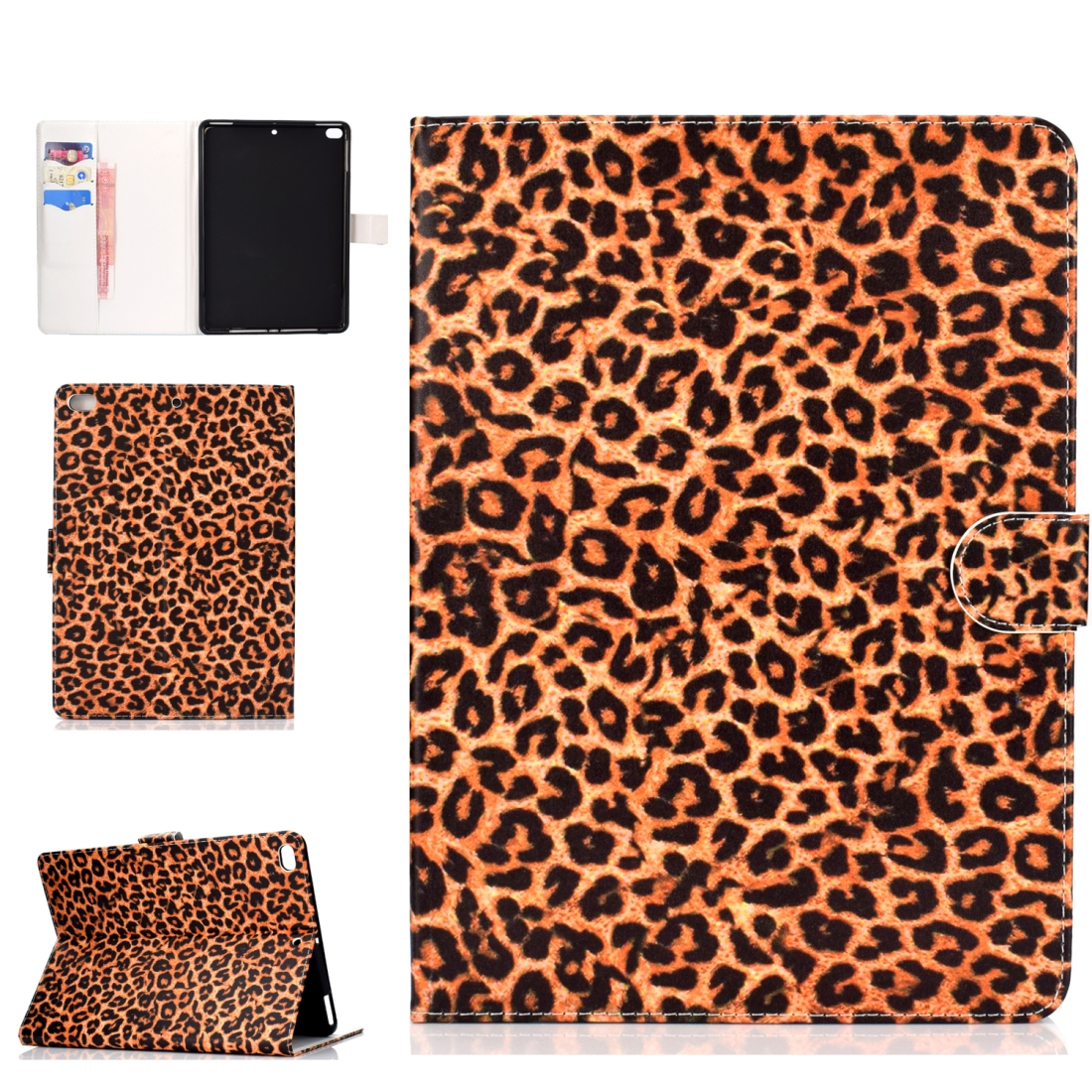 iPad 5th Generation Case Fits iPad 5,6,8, Stylish Leather Design & Auto Sleep Function (Leopard)
